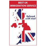 Refused a UK visa? - printable stamp / label. Best immigration service. Refused a UK visa?. Blue stamp / label / icon with the map and flag of the Great Britain royalty free illustration