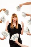 Refuser réussi de femme d'affaires de l'argent au-dessus du fond blanc Images stock