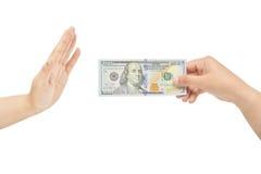 Refusing bribe stock photography