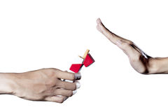 Refusing a cigarette offer Royalty Free Stock Images