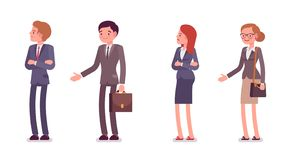 Refusing a handshake. Men and women are in a formal wear. Cartoon vector flat-style illustration vector illustration