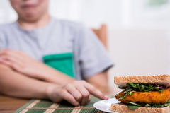 Refusing to eat chicken sandwich Stock Image