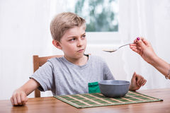 Refusing to eat milk Stock Photos