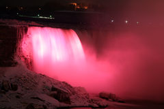Reg Rage Falls. Niagara Falls at Night - Red Canadian Falls royalty free stock photography