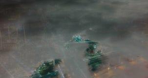 Regaços do tempo da cidade sob as nuvens, laço video da noite vídeos de arquivo