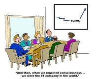 Regained Consciousness, We Were #1. Business cartoon showing people in a meeting and the words, 'And then, when we regained consciousness... we were the #1 Stock Photos