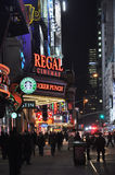 Regal Cinemas. And other theaters and cinemas near Times Square, Manhattan, New York, USA Royalty Free Stock Images