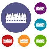 Regal crown icons set. In flat circle red, blue and green color for web Stock Photography