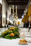 Regal Dinner. A beautiful mise en place for a regal dinner Stock Images