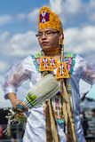 Regal looking native American woman. Coeur d'Alene, Idaho USA - 07-23-2016. Young dancer participates in the Julyamsh Powwow on July 23, 2016 at the Kootenai royalty free stock photo