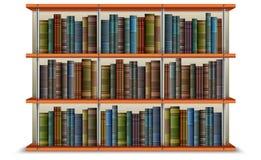 Regal mit Büchern und Feld Lizenzfreies Stockbild