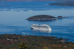 Regal Princess view from Cadilacv Mountain Royalty Free Stock Images