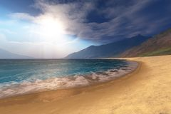 Regal Vista. Blue seas and radient sun shine in this seascape Royalty Free Stock Image