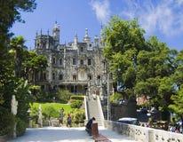 Regaleira宫殿在金塔da Regaleira 免版税库存照片