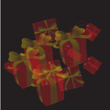 Regali con il Natale fondo ed il vettore della cartolina d'auguri Royalty Illustrazione gratis