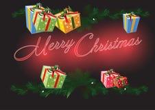Regali con il Natale fondo ed il vettore della cartolina d'auguri Illustrazione di Stock