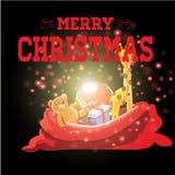 Regali con il Natale fondo ed il vettore della cartolina d'auguri Illustrazione Vettoriale