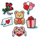 Regali del biglietto di S. Valentino delle icone dell'illustrazione di amore Immagini Stock