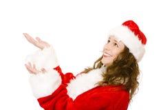 Regali di cattura di natale della donna di Appy il Babbo Natale Immagini Stock