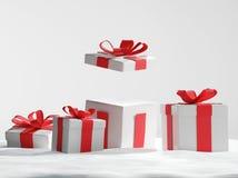 Regali di Natale aperti nella neve 3d-illustration Illustrazione di Stock