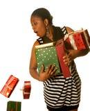 Regali di Natale cadenti Fotografia Stock Libera da Diritti