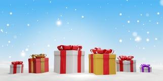 Regali di Natale con il nastro 3d-illustration illustrazione vettoriale