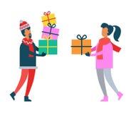 Regali di Natale della tenuta della donna e dell'uomo in mani illustrazione di stock