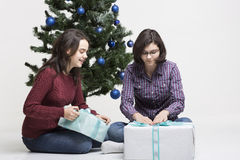 Regali di Natale di apertura Immagine Stock