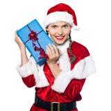 Regali di Natale di natale del Babbo Natale della donna Fotografie Stock