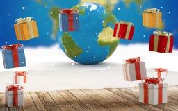 Regali di Natale e globo 3d-illustration del mondo Elementi di questa immagine ammobiliati dalla NASA illustrazione vettoriale