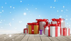 Regali di Natale festivi con i fiocchi di neve 3d-illustration come fondo di natale illustrazione di stock