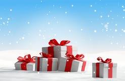 Regali di Natale nella neve 3d-illustration Royalty Illustrazione gratis