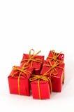 Regali di Natale su priorità bassa bianca Fotografie Stock Libere da Diritti