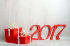 Regali di numero 2017 e di Natale Immagini Stock