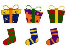 Regali e calzini di Natale Fotografia Stock