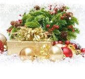 Regali e decorazioni di Natale Fotografia Stock Libera da Diritti