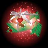 Regali e nastro del cuore con il Natale fondo ed il vettore della cartolina d'auguri Illustrazione di Stock