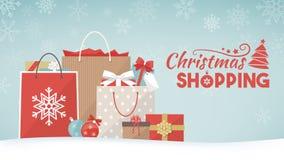 Regali e sacchetti della spesa di Natale illustrazione di stock