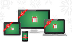 Regali elettronici di Natale Fotografia Stock