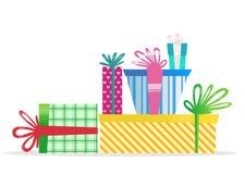 Regali multicolori di Natale Cartolina d'auguri di nuovo anno Immagini Stock Libere da Diritti