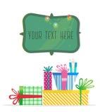 Regali multicolori di Natale Cartolina d'auguri di nuovo anno Immagini Stock