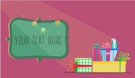 Regali multicolori di Natale Cartolina d'auguri di nuovo anno Fotografia Stock