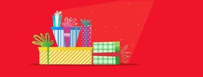 Regali multicolori di Natale Cartolina d'auguri di nuovo anno Fotografia Stock Libera da Diritti