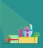 Regali multicolori di Natale Cartolina d'auguri di nuovo anno Fotografie Stock