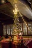 Regali sotto l'albero di Natale in salone ambientale con il camino fotografie stock libere da diritti