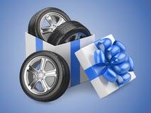 Regalo abierto de la caja de cartón del blanco con los whelles de los neumáticos de coche y el arco rojo stock de ilustración