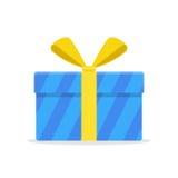Regalo azul o actual caja con la cinta y el arco amarillos Fotografía de archivo libre de regalías