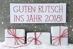 Regalo blanco, copos de nieve, Año Nuevo de los medios de Guten Rutsch 2018 Foto de archivo libre de regalías