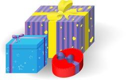 Regalo Boxes il Natale di feste, nuovo anno, compleanno, giorno del biglietto di S. Valentino s illustrazione di stock
