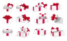 Regalo Boxes Scatola vuota attuale aperta di bianco con l'arco ed i nastri rossi Natale e modello di vettore di giorno di S. Vale illustrazione vettoriale